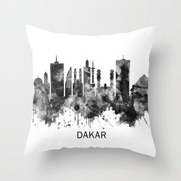 Dakar Senegal Skyline BW Throw Pillow