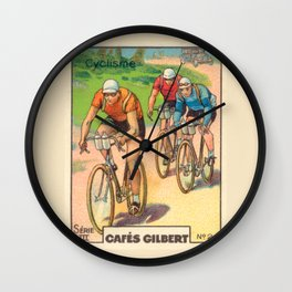 Cyclisme Cyclists Vintage Graphic Cycling Wall Clock