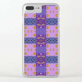 Kids Purple Patchwork Patterns Clear iPhone Case