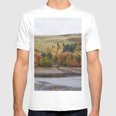 Autumnal trees at Derwent Reservoir. Derbyshire, UK. White MEDIUM Mens Fitted Tee