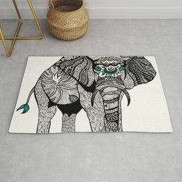 Tribal Elephant Black and White Version Rug
