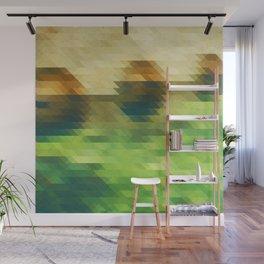 Green yellow triangle pattern, lake Wall Mural
