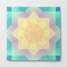 Abstract Pastel Flower Mandala Metal Print