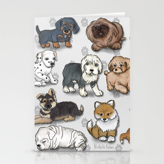 Puppies, more than a dozen.  Stationery Cards