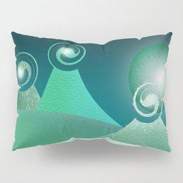 Fantasy Moonlit Mountains in green Pillow Sham