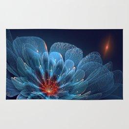 3D Blue Flower V2 Rug