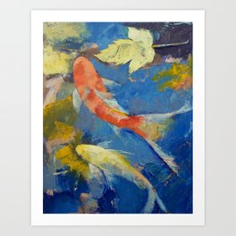 Autumn Koi Garden Art Print