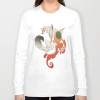 okami Long Sleeve T-shirts featuring Okami Amaterasu  by Ectoimp