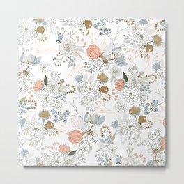 Elegant abstract coral pastel blue modern rustic floral Metal Print