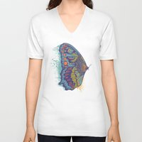 butterfly V-neck T-shirts featuring Butterfly Life Cycle by Rachel Caldwell