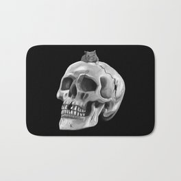 Cracked skull with mouse BW Bath Mat