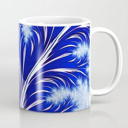 Abstract Blue Christmas Tree Branch with White Snowflakes Coffee Mug