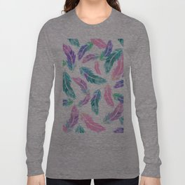 Pastel pink turquoise hand painted watercolor feathers pattern Long Sleeve T-shirt