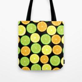 Citrus Slices on Black Tote Bag