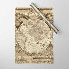 Antique world map with sail ships, sepia Wrapping Paper