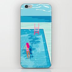 In Deep - memphis throwback swimming athlete palm springs resort vacation country club infinity pool iPhone & iPod Skin