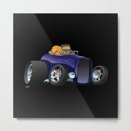 Highboy hotrod deep purple roadster with driver and cute passenger Metal Print