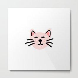 Cute pink cat Metal Print
