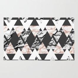 Modern Black White Rose Gold Marble Geo Triangles Rug