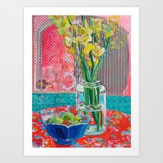 Gladiolus and Pokeweed Art Print
