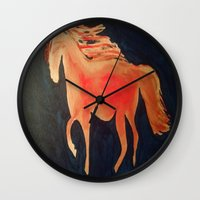 patriots Wall Clocks featuring Red Navy Blue and Silver Acrylic Horse Painting by Melissa's Art