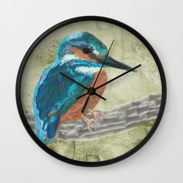 Watercolour Kingfisher bird Wall Clock