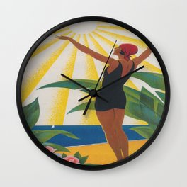 French Riviera Art Deco Vintage Travel Poster Wall Clock
