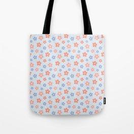Blue Pink Flower Pattern Tote Bag