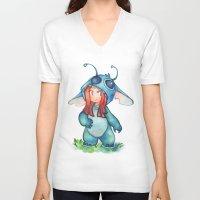 stitch V-neck T-shirts featuring stitch  by cynamon