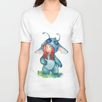 stitch V-neck T-shirts featuring stitch  by noCek