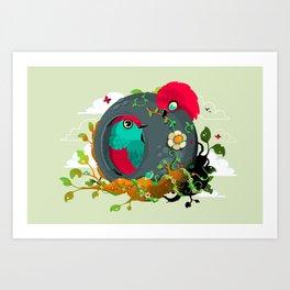 birdies in love Art Print