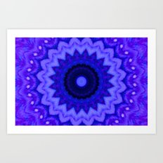 Lovely Healing Mandala  in Brilliant Colors: Black, Purple, and Blue Art Print