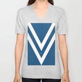 Blue V Abstract Retro Design Unisex V-Neck
