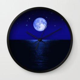 Morning Blue Moon Reflected in Dark Sea Wall Clock