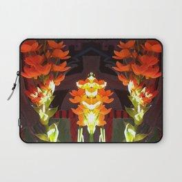 Symmetrical Red Flowers in Striped Pot Laptop Sleeve