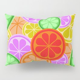 FRUITY CITRUS PATTERN BIG BOLD ORANGES LEMONS AND PINK GRAPEFRUIT WITH LIMES Pillow Sham