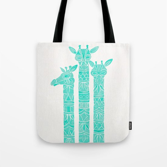 Giraffes – Turquoise Palette Tote Bag