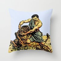 parks and recreation Throw Pillows featuring Ron Swanson Slaying A Lion  |  Parks and Recreation by Silvio Ledbetter