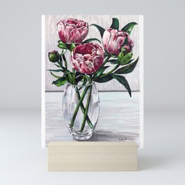 Peonies in a vase marers art Mini Art Print