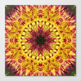 Dahlia 'Jessica' fiery kaleidoscope/mandala Canvas Print