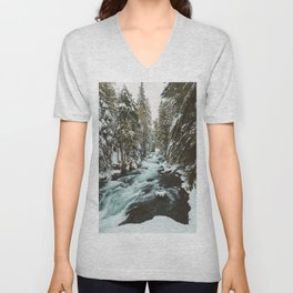 The Wild McKenzie River Portrait - Nature Photography Unisex V-Neck