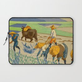 Asano Takeji Rice Transplantation Vintage Japanese Woodblock Print Asian Farmers Sedge Hat Laptop Sleeve