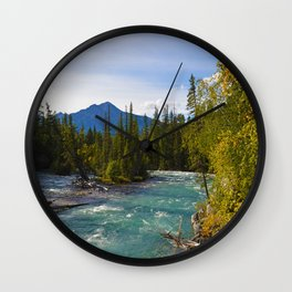 Maligne River & Pyramid Mountain in Jasper National Park, Canada Wall Clock