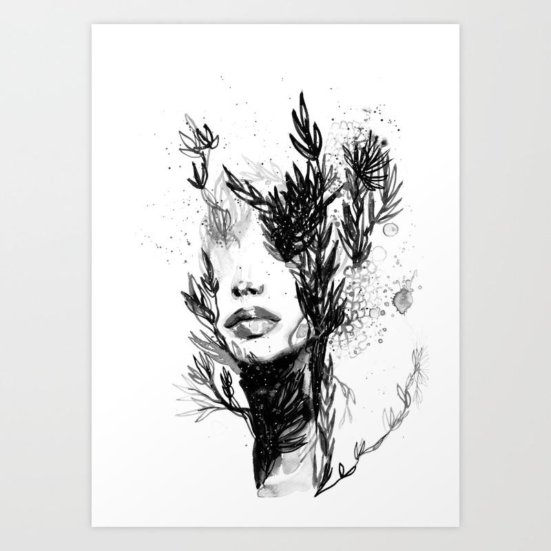 Black n white women abstract face love art print