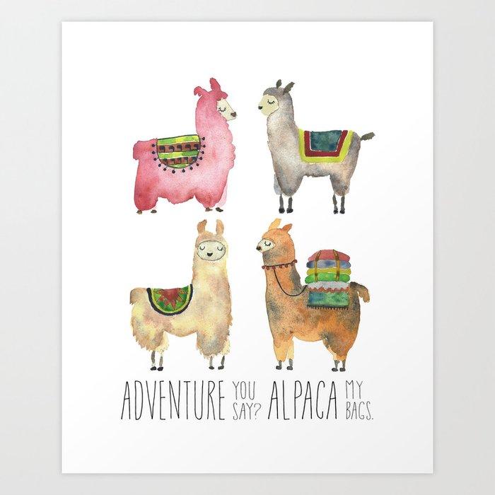 Alpaca  Llama Watercolor Art Print