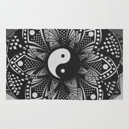 Yin and Yang Mandala (Black & White) Rug