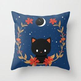 Midnight Cat Wreath Throw Pillow