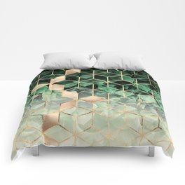 Leaves And Cubes Comforters