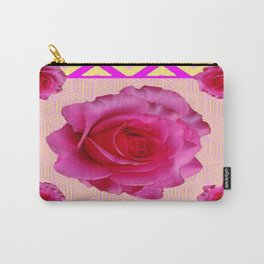 Fuchsia Pink Roses Oriental Pattern Carry-All Pouch