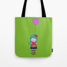 Kokoro Flower balloon - green Tote Bag